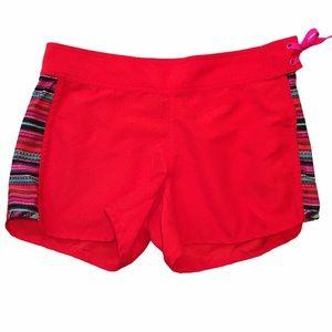 "Athleta Red ""Santa Crus"" Board Shorts 6"